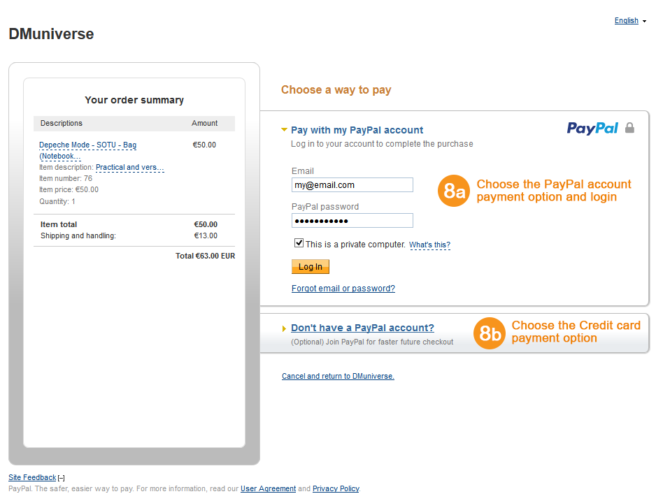 PayPal Account payment